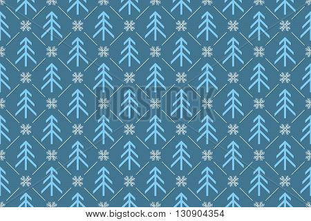 Winter Holiday blue pattern with trees and snowflakes, for fabric, wrapping paper,etc. Print colors used. Pattern can be found in swatches.