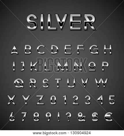 Rich silver alphabet collection on gradient background