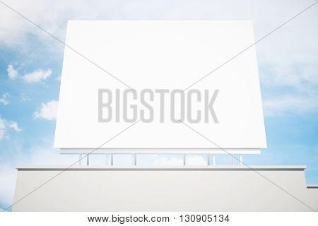 Large commercial billboard on sky background. Mock up 3D Rendering