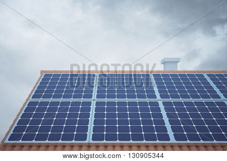 Front view of solar panels on house roof against cloudy sky. 3D Rendering