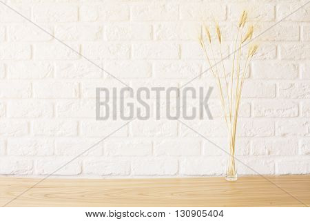 Front view of wheat spikes on wooden desktop and white brick background. Mock up