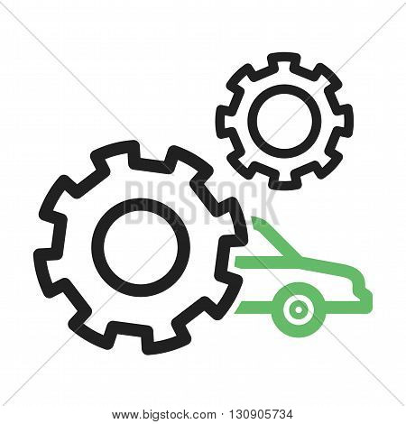 Settings, car, controls icon vector image. Can also be used for car servicing. Suitable for use on web apps, mobile apps and print media.