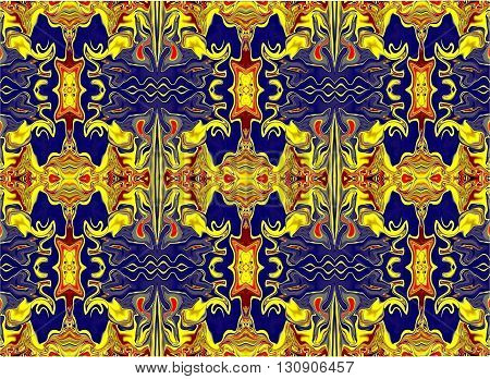 Oriental patterns - the language of the soul The picture shows the oriental patterns mainly red, blue and yellow colors.