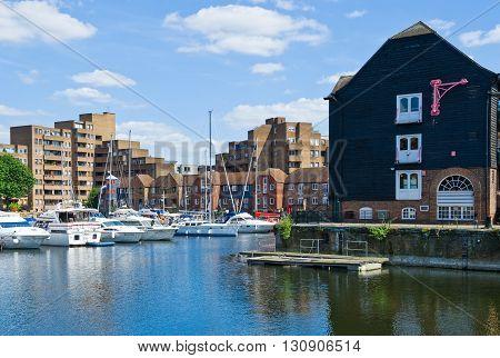 London England - June 30 2008: Boats in the S. Katharine's docks marina
