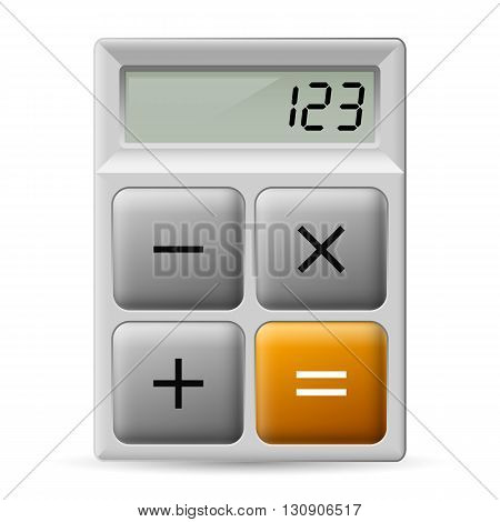 Simple white calculator icon with four buttons.
