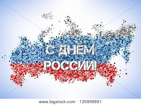 Postcard on Day of Russia in June 12. Shape of country in tricolor scattering glitter. Russian text translation: With Day of Russia. Vector illustration