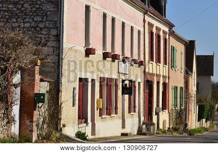 Giverny France - february 29 2016 : the picturesque village in winter