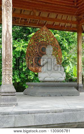 buddha amoghasiddhi statue in mendut buddhist monastery
