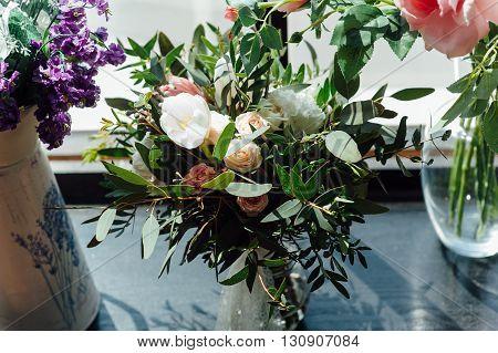 Beautiful Modern Wedding Bouquet On Wooden Planks