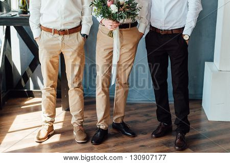Beautiful Wedding Bouquet In Hands Of The Groom