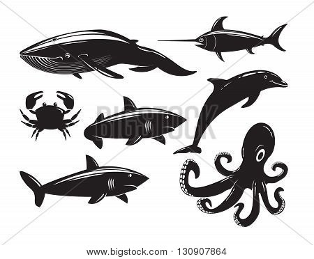 Collection of sea animals isolated on white background. Vector Illustration