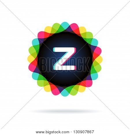 Retro bright colors Logotype, Letter Z, isolated on white