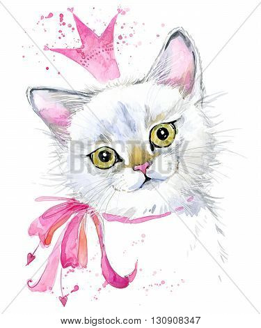 Cat. Cute cat. Watercolor Cat illustration. Birthday card. T-shirt print. Greeting card. Pet illustration. Poster illustration. Kitten.