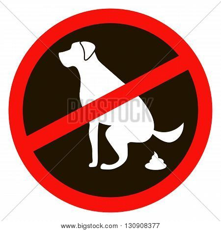 No dog pooping sign white silhouette on black background