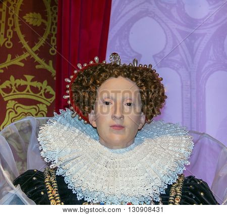 LONDON UK - JUNE 7 2015: Queen Elizabeth I wax figure At Madame Tussauds  wax Museum