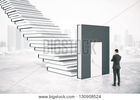 Education concept with thinking businessman standing next to book door and ladder on abstract city background. 3D Rendering