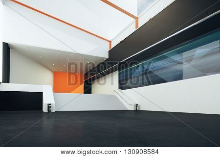 Sideview of futuristic interior with stairs black floor orange and white walls. 3D Rendering
