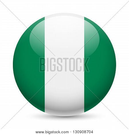 Flag of Nigeria as round glossy icon. Button with Nigerian flag