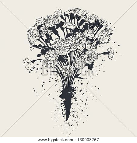 Bouquet of carnations, hand-drawn graphic illustration, black and white version, vector