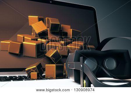 Virtual Reality Glasses Notebook Closeup