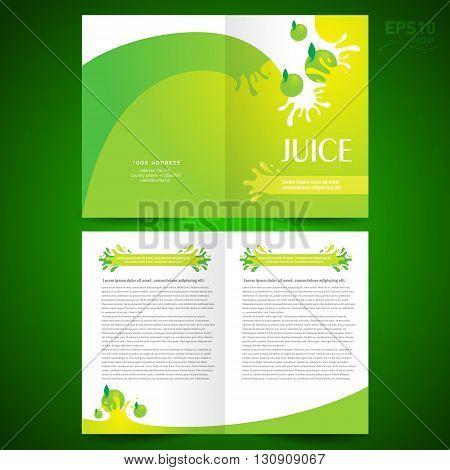 brochure design template booklet catalog fruit juice liquid drops splash green background