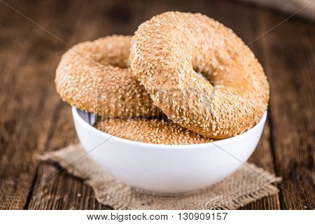 Fresh Bagels With Sesame (close-up Shot; Selective Focus)