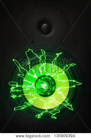 Music Monitor Speakers With Green Laser Rays.