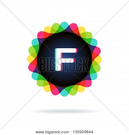 Retro bright colors Logotype, Letter F, isolated on white