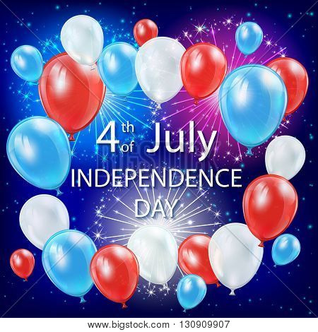 Independence day background with colored balloons and fireworks in the night sky, USA Independence day theme 4th of july, illustration.