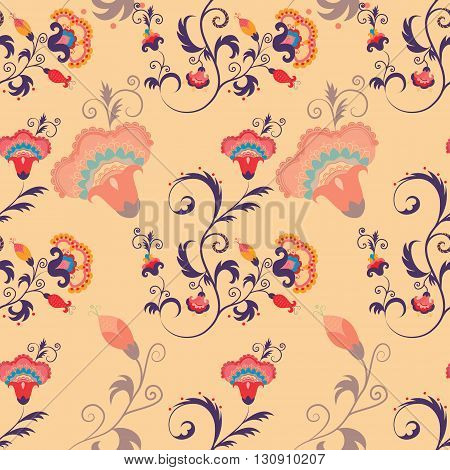 Asian Japanese seamless detailed vector pattern with flowers and leaves. Oriental floral background