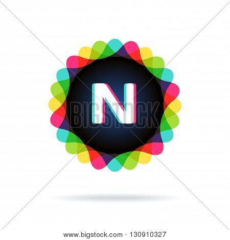 Retro bright colors Logotype, Letter N, isolated on white
