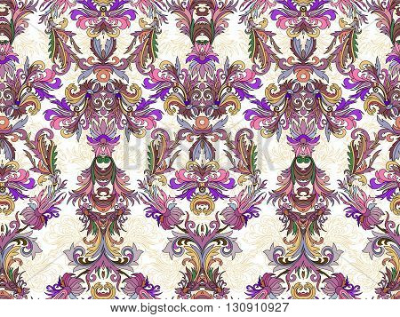 Luxury floral damask wallpaper. Seamless pattern background. Vector illustration. Lilac tone ornate pattern on white backdrop.