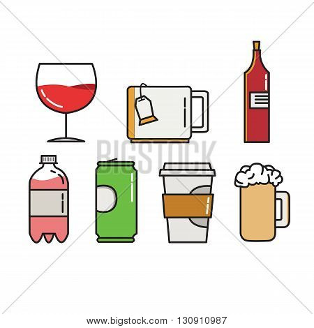 Colorful vector icons of wineglass, cap for tea, wine bottle, bottle with gass, jar and beer cap on white background. Illustration in vector.
