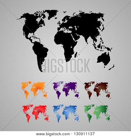 Set of World Map, Continents - illustration Vector illustration of World map.