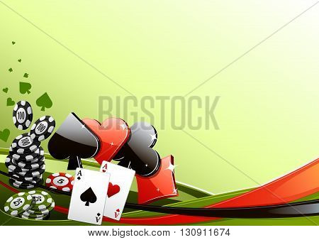 Green poker background with cards and poker chips