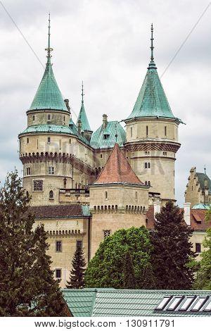 Detail photo of Bojnice castle Slovak republic. Cultural heritage. Architectural theme. Travel destination. Vertical composition.