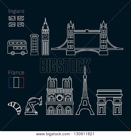 Concept of travel or studying English on black background. English and French flags with landmarks. Flat design, vector illustration
