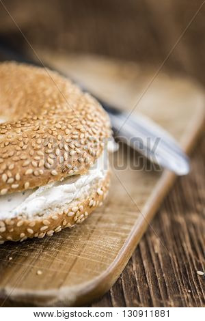Cream Cheese Bagel (on Wooden Background)