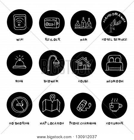 Hand drawn hotel accommodation amenities services icons set. Black circle. Vector.