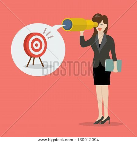Business woman looking for business target. Business vision