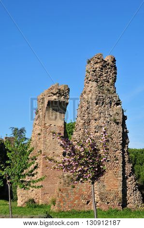 Frejus; France - april 16 2016 : the ruin of the roman aqueduct