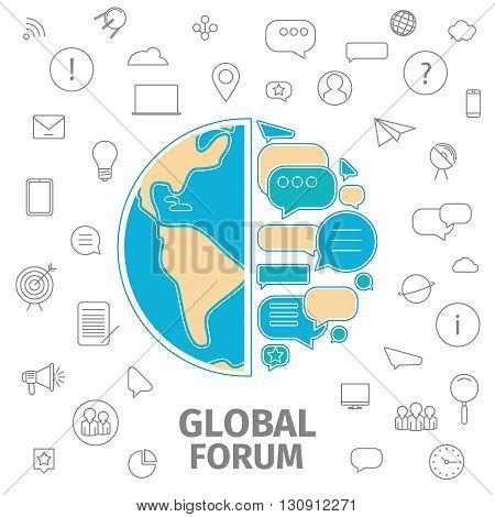 Line flat business vector illustration. Thin line concept of Global Forum. Dialog bubble as earth. Global business conception.