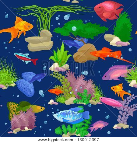 Aquarium fish, seaweed underwater seamless pattern vector illustration. Fish flat style vector illustration. Fish seamless pattern. Tropical fish, sea fish, aquarium fish seamless. Sea color flat design fish
