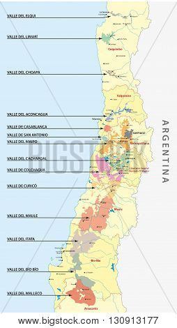 vector map of the wine regions of Chile