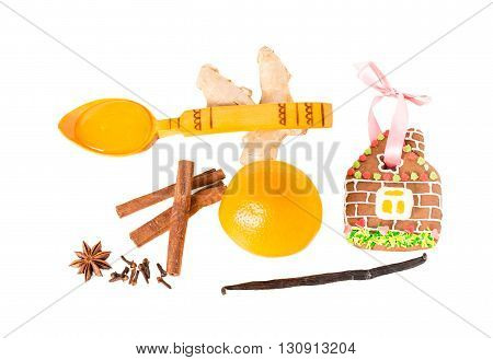 Assorted fruits and spices for christmas mulled wine. Isolated on a white background.