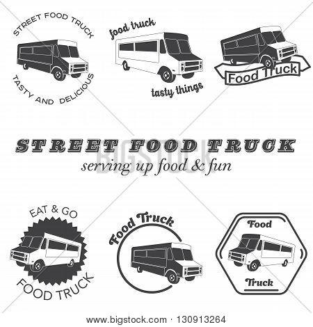 Set of food truck emblems, badges and design elements. Vector illustration.