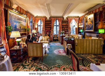 London England - January 29 2012: The afternoon tea hall of the Milestone Hotel in Kensington court