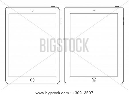 tablet outline icon on the white background. stock vector illustration eps10