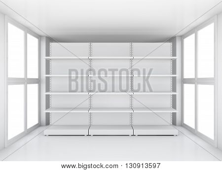 White empty supermarket retail store shelves in clean exhibition room, 3D illustration