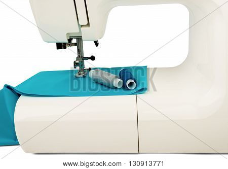 Machine sews with blue textile fabric on white background